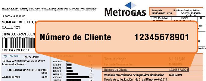 numero de cliente metrogas