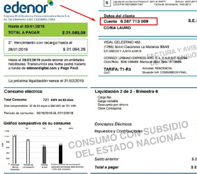 factura Edenor