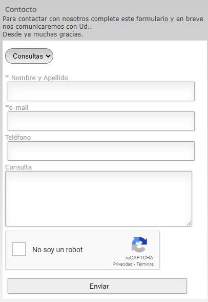 Formulario de contacto expreso colonia
